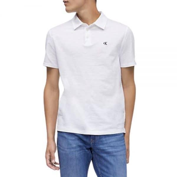Polo Hombre Calvin Klein Monogram Logo Slub White | Original
