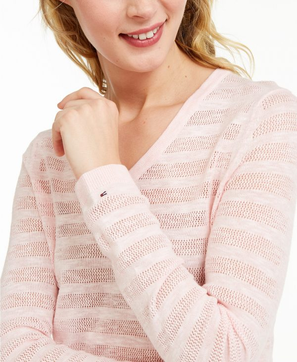 Saco Mujer Tommy Hilfiger Striped Pointelle-Knit Pink   Original