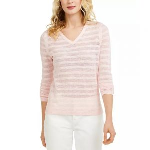 Saco Mujer Tommy Hilfiger Striped Pointelle-Knit Pink | Original