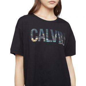 Camiseta Mujer Calvin Klein NYC Skyline Print Monogram Logo Boyfriend Black | Original