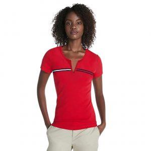 Camiseta Mujer Tommy Hilfiger T-Shirt Essential Split-Neck Red | Original