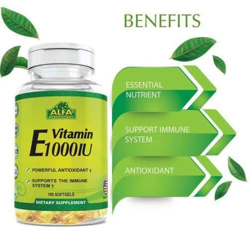 Suplemento Alfa Vitaminas E cápsulas blandas 1000IU | 100unidades