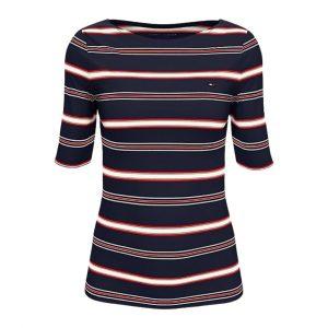 Camiseta Mujer Tommy Hilfiger Essential Stripe Boatneck Sky Captain | Original
