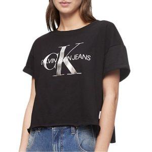 Camiseta Mujer Calvin Klein Metallic Monogram Logo Boxy T-Shirt Black Silver | Original.