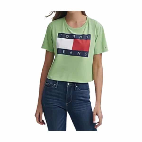 Camiseta Mujer Tommy Hilfiger Logo-Print Cropped Cotton T-Shirt Verde | Original