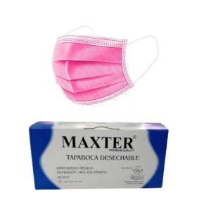 Caja 50 Tapabocas Maxter Quirúrgico Termosellados 3 Capas Rosa | Empaque Individual