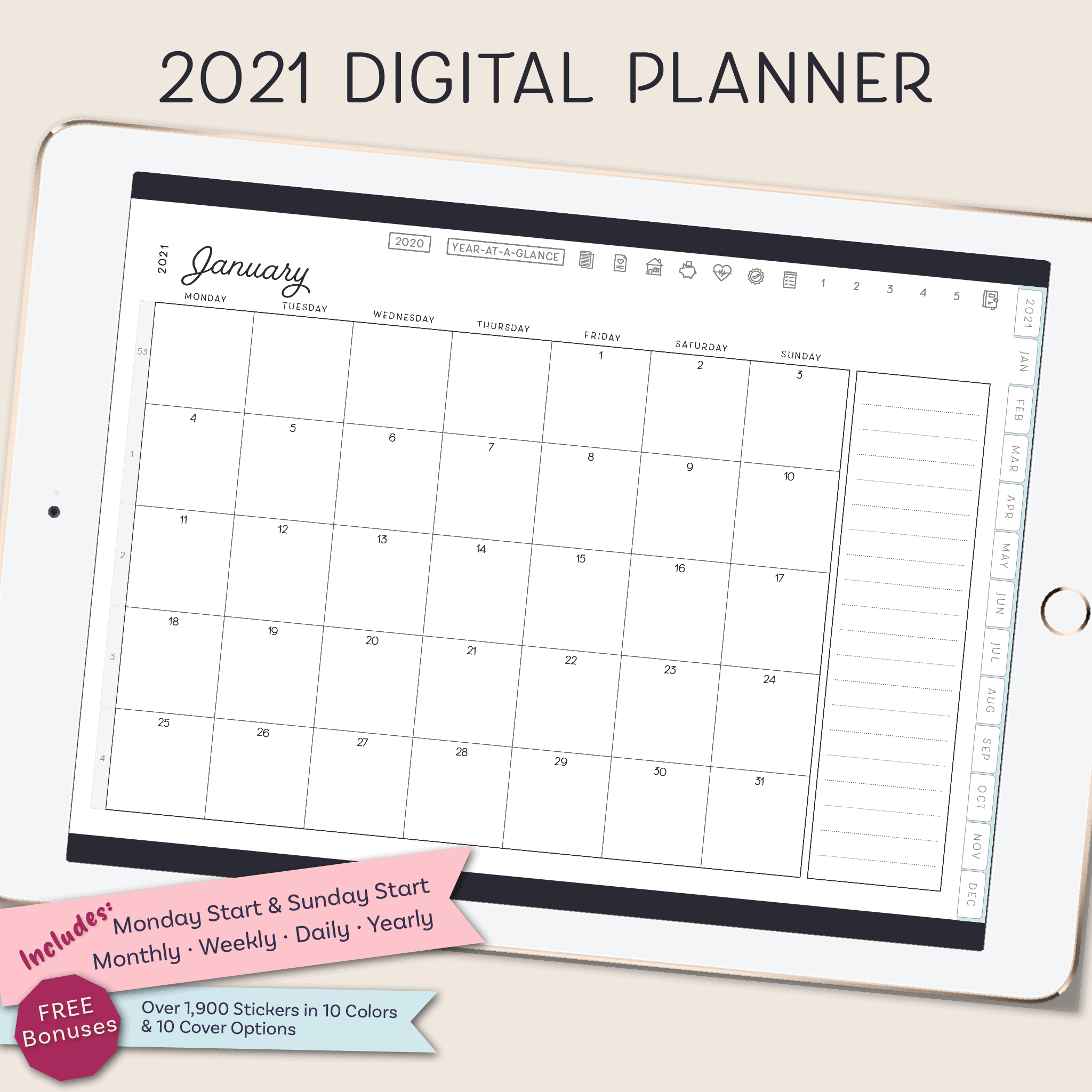 32 Digital Planner for iPad, Goodnotes Template, Notability Template