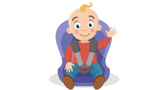 Child fastened in a car seat waving on a white.