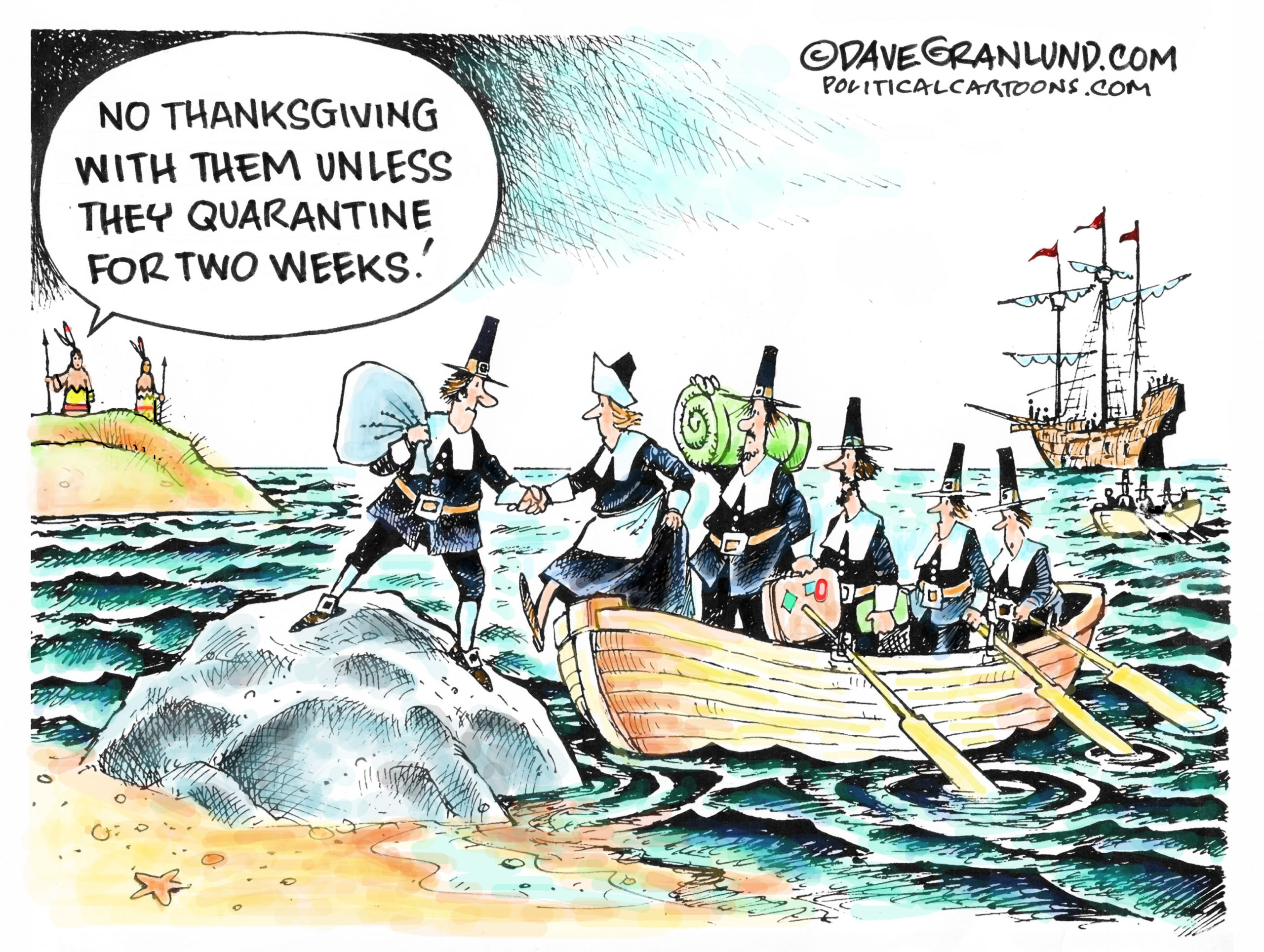 Pilgrims come off of their boat and are told to quarantine