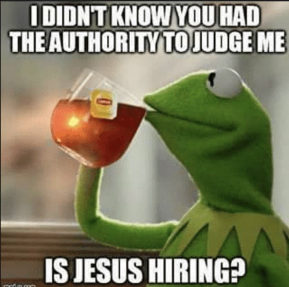 Judgemental Kermit Meme - I didn't know you had the authority to judge me. Is Jesus hiring?