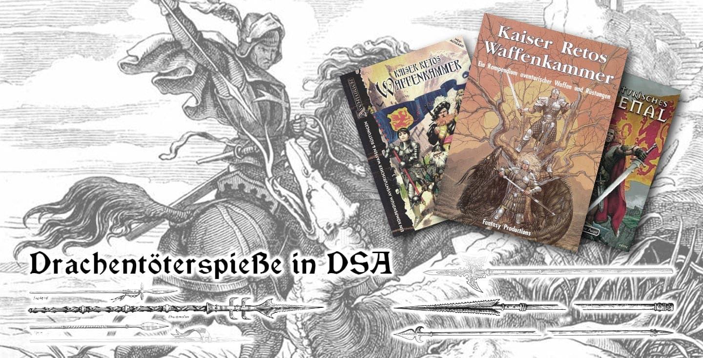 Collage von Kaiser Retos Waffenkammer und den DSA Drachentöter-Spieß