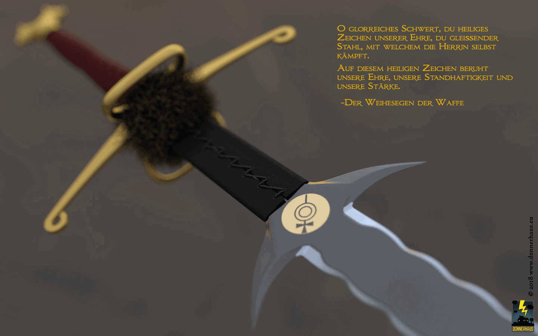 Nahaufnahme der Ricasso mit Symbol der Rondrakirche