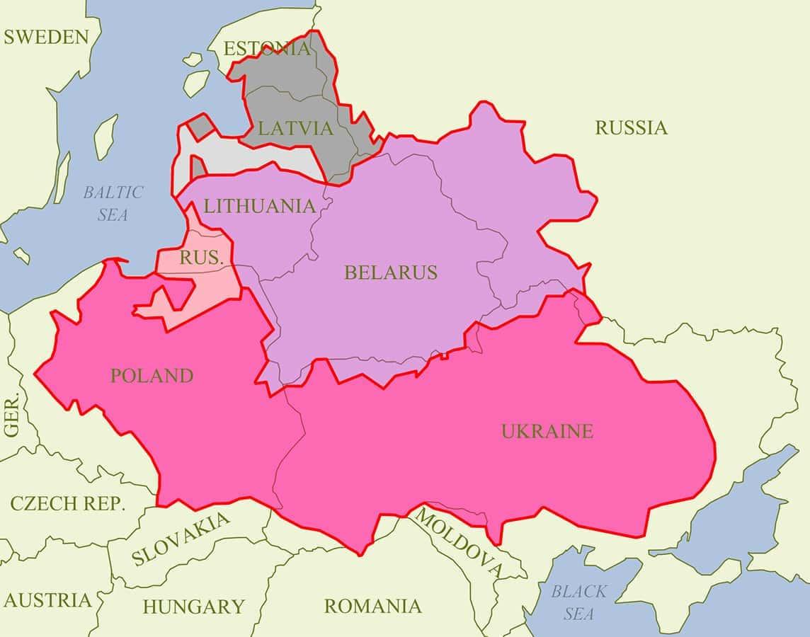 Karten von Polen-Litauen mit heutigen Staatsgrenzen