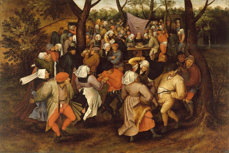 Bauern Tanzen zur Hochzeit vor dem Haus. Wilde Reigen! Gemalt von Pieter Bruegel.