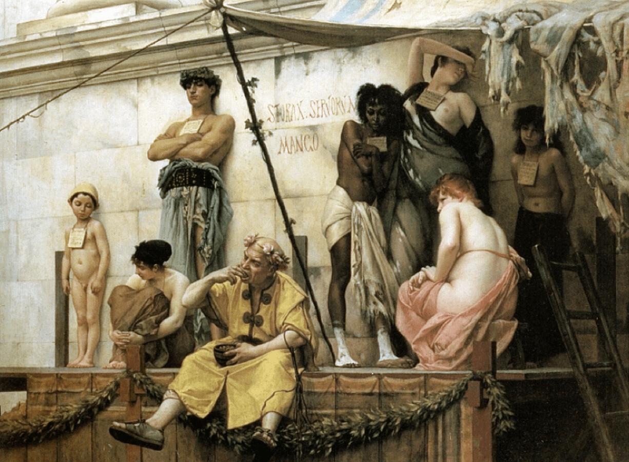 Sklavenmarkt in Rom, eine Darstellung aus dem 19.Jh.