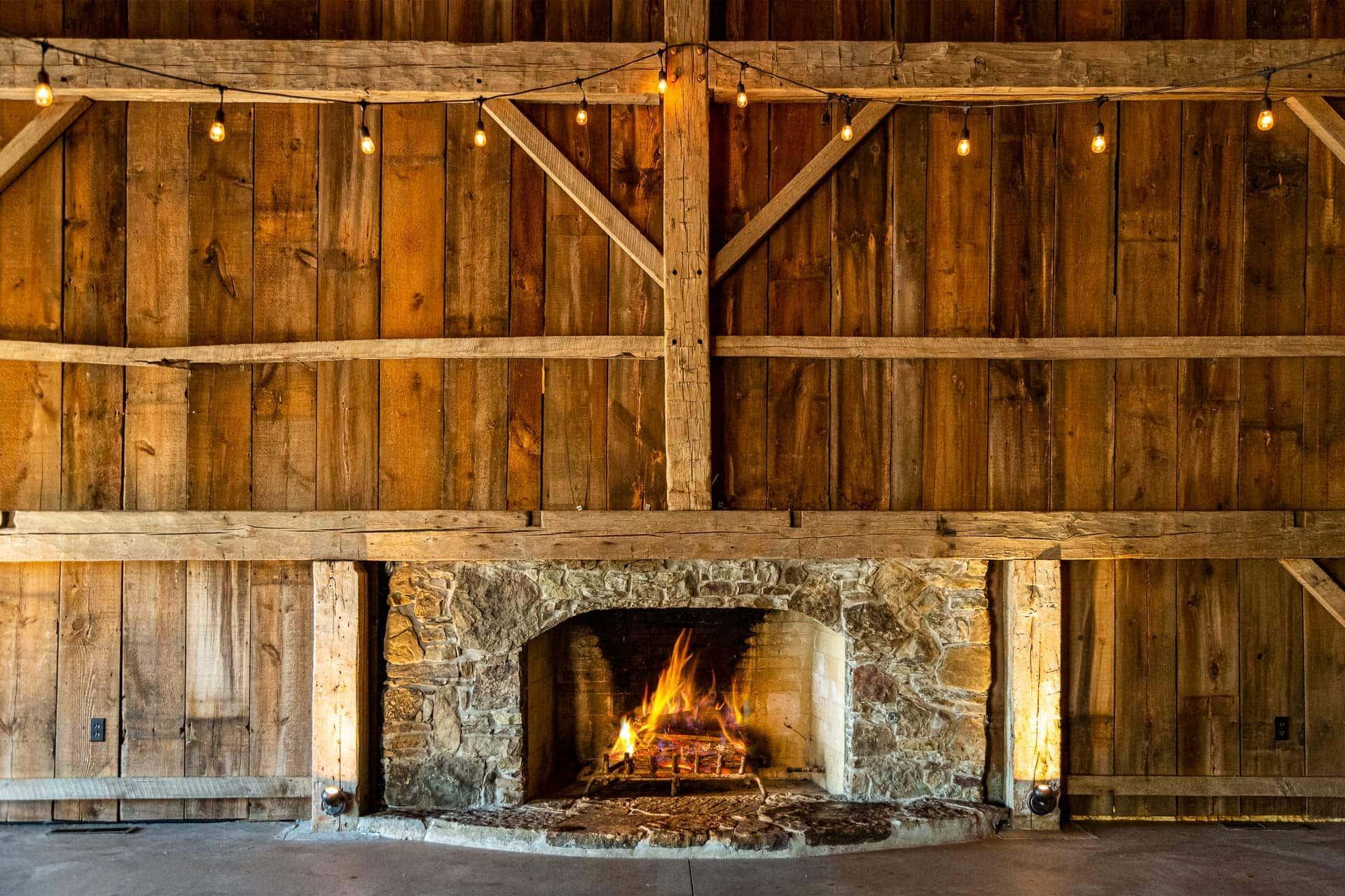 Fireplace in the Barn at Esperanza Ranch