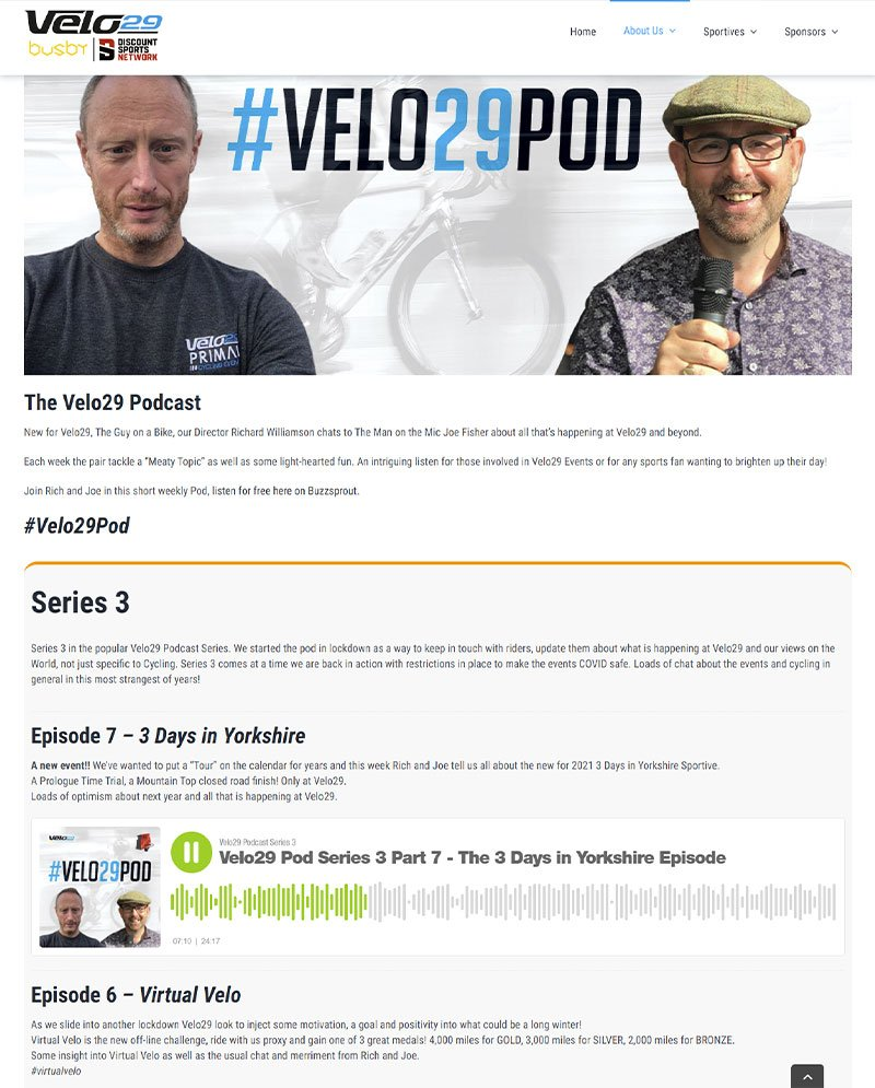 Cycling podcast website integration