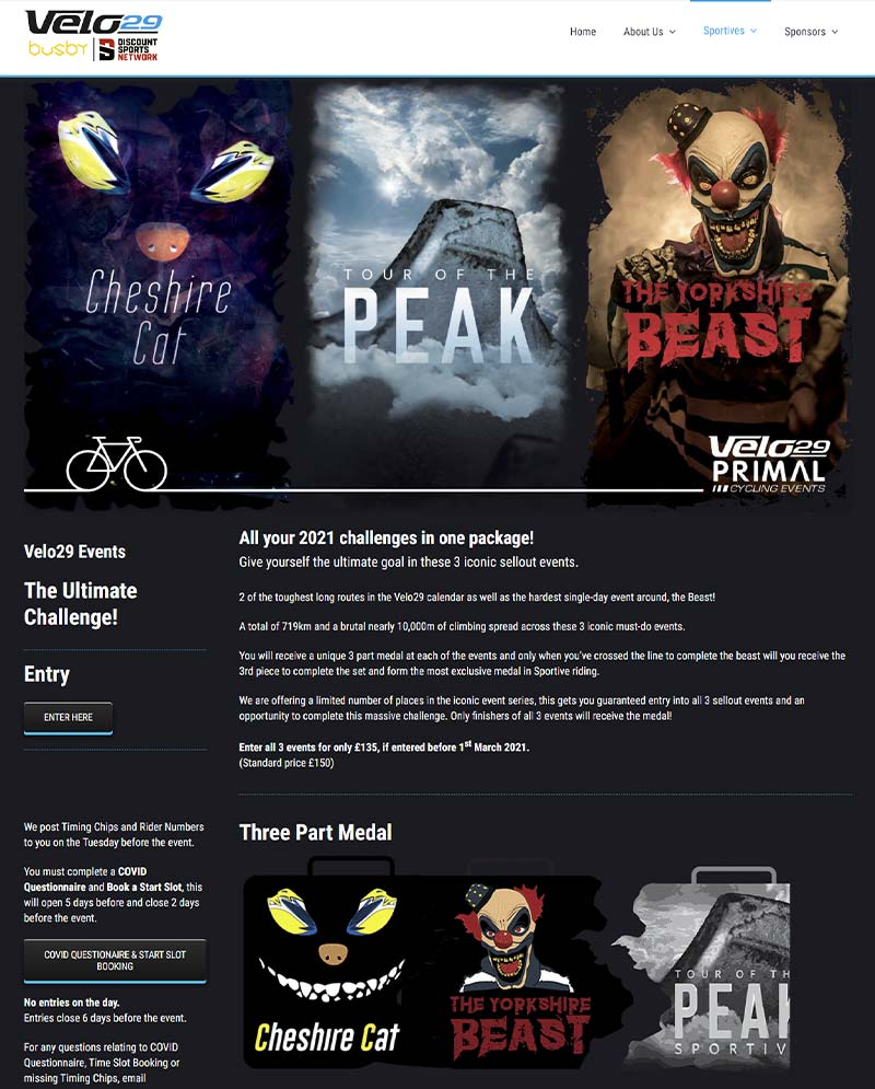 Iconic cycling events webpage design