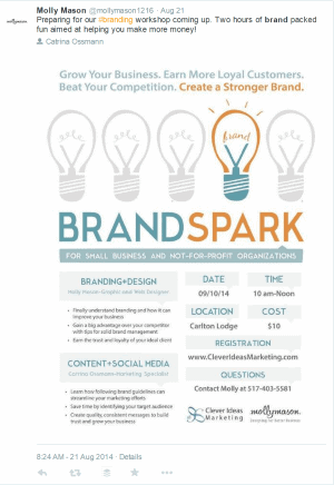 Using Speaking to Market Your Creative Services. Self-promotional Tweet for the Brand Spark Event by Freelance Graphic and Web Designer Molly Mason. Click to visit Molly's online portfolio!