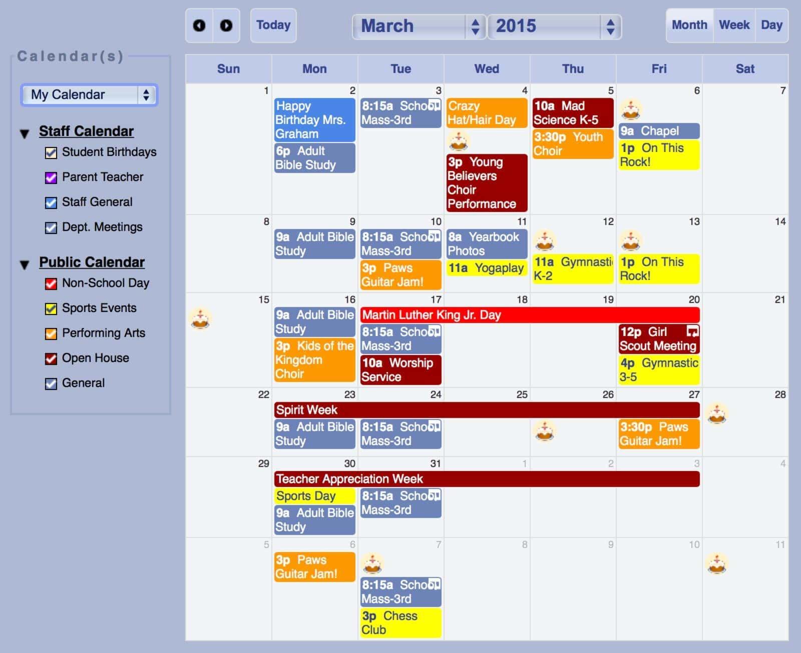 Calendars enhance school communication