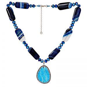 Blue Brazilian Agate Necklace