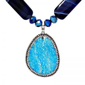 HerMJ.com Blue Brazilian Agate Pendant