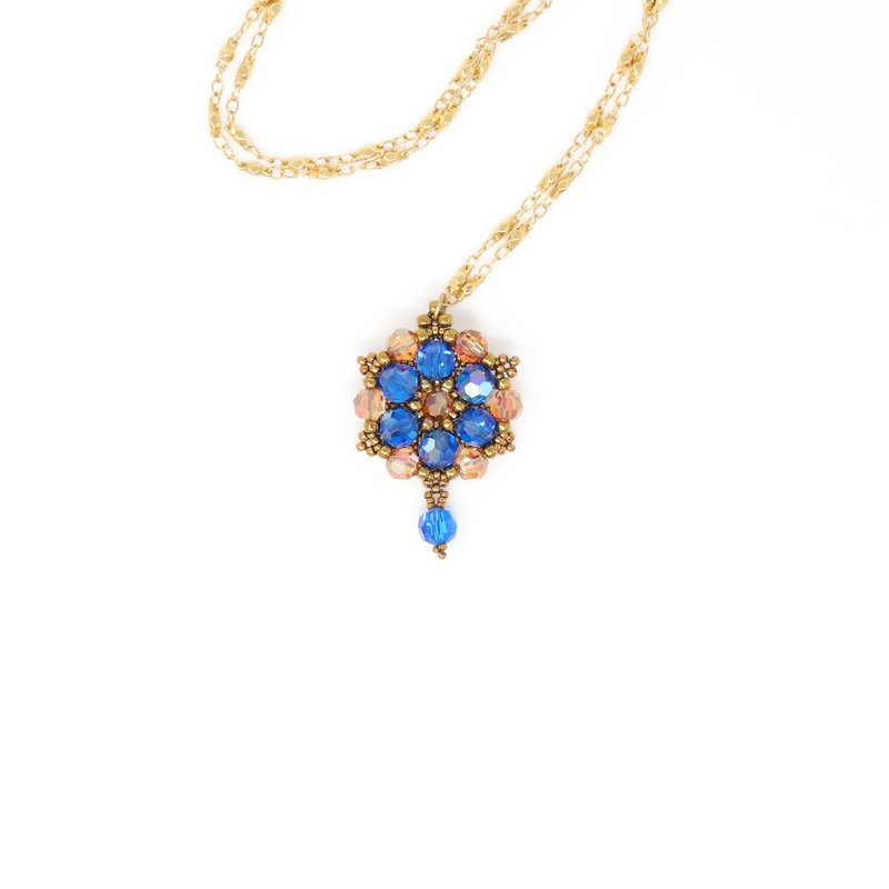 Melbourne Blue Swarovski Crystal Necklace - Side A