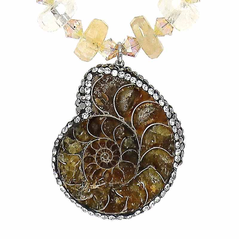 Citrine Ammonite Necklace