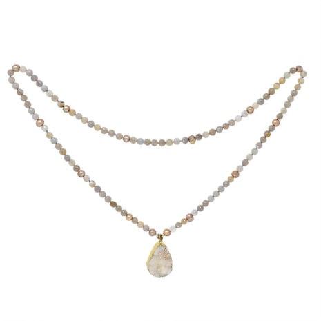 Golden Druzy Pearl Necklace