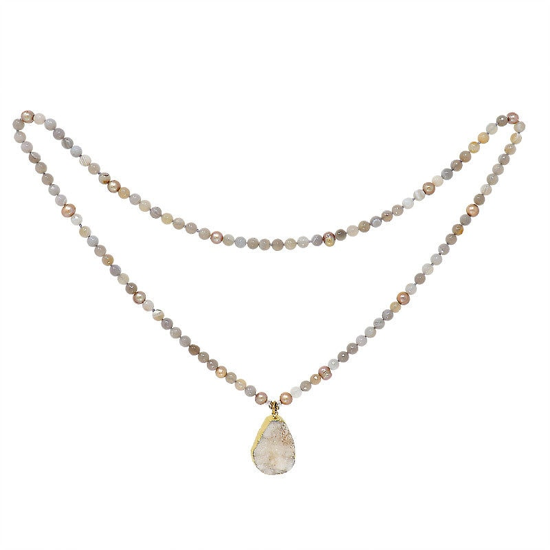 Golden Druzy Pearl Necklace