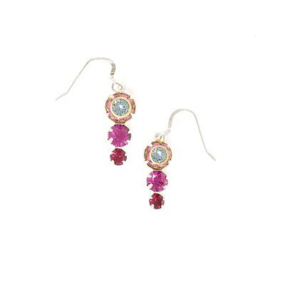Lotus Swarovski Pink Crystal Earrings - HerMJ