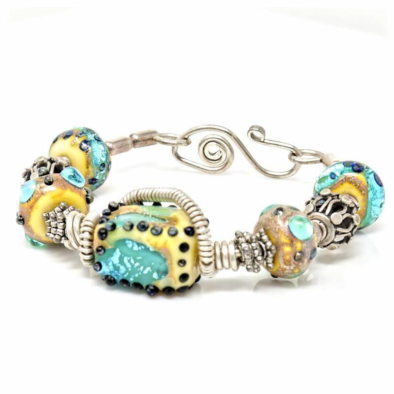 Sterling Silver Art Glass Bracelet