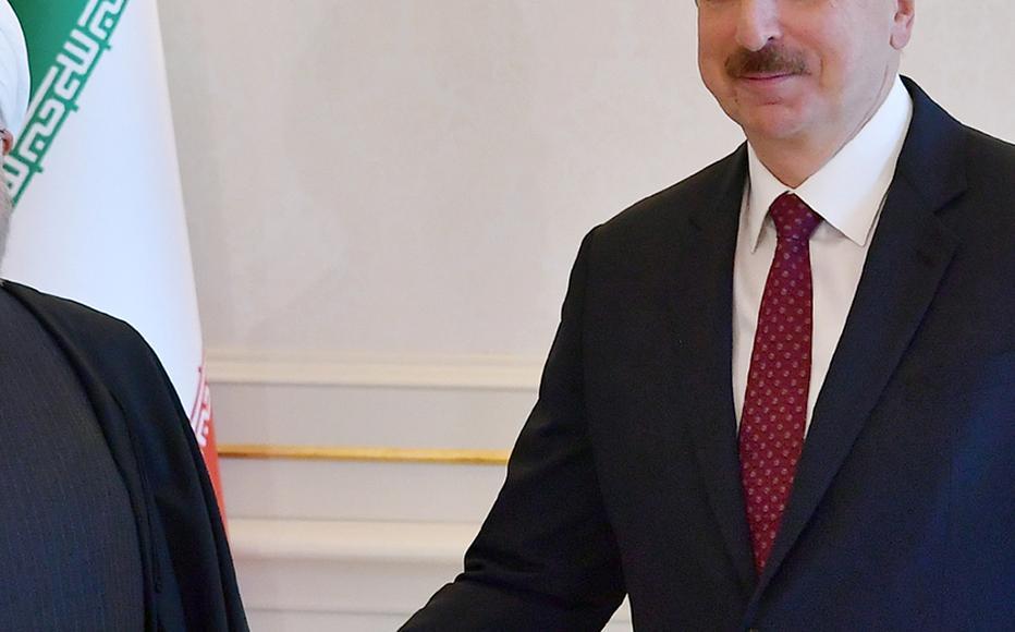 Ilham Aliyev, the president of Azerbaijan meeting Hassan Rouhani, the president of Iran.