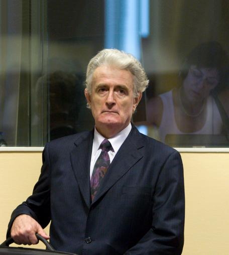 Former Bosnian Serb leader Radovan Karadzic makes an initial appearance at the International Criminal Tribunal for the former Yugoslavia (ICTY) on July 31, 2008 in The Hague, The Netherlands.