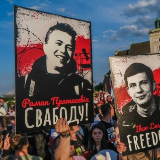 Belarusian dissidents in Poland call for international support against Belarusian President Alexander Lukashenko after authorities forced a plane to divert to Minsk to allow the detention of a prominent opposition activist.