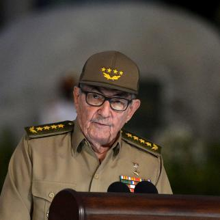 Raul Castro, gives a speech on January 1, 2019, during the celebration of the 60th anniversary of the Cuban Revolution at the Santa Ifigenia Cemetery in Santiago de Cuba.