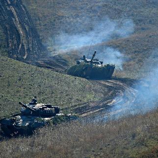 Armenian tanks on manoeuvre in Karabakh. December 2015. (Photo: Armenian president's website)