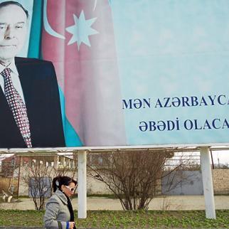 "Poster of Heydar Aliyev in Sumgait. The words say ""I will be in Azerbaijan forever"". (Photo: Shahla Sultanova)"
