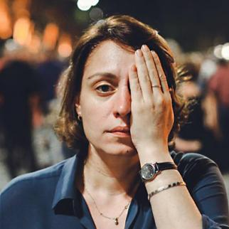 Elene Khoshtaria with symbolical gesture in support of Georgians who lost their eye after being hit by rubber bullets during the brutal police crackdown of the peaceful protests on June 20, 2020. (Photo courtesy of E. Khoshtaria)