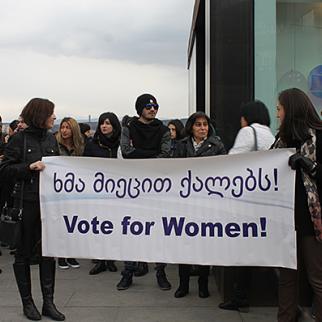 A rally in Tbilisi in support of greater female participation in politics. (Photo: Regina Jegorova-Askerova)