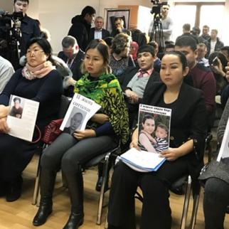Relatives of ethnic Kazaks who are held in a Chinese camp - press conference in capital Astana. (Photo: RFE RL Kazak service)