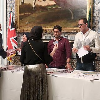 IWPR's civil society partners meet with members of the international community during the event hosted by the UK Embassy to Libya. (Photo: Abby Tillman/IWPR)