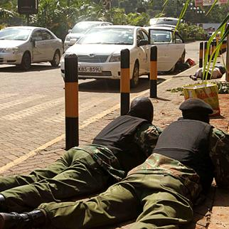 Soldiers positioned outside the Westgate mall in Nairobi, September 2013. (Photo courtesy of Capital FM)
