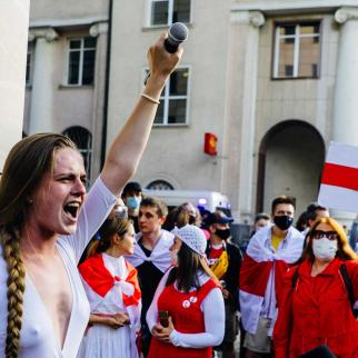 Protesters demanding that Roman Protasevich be freed in Warsaw, Poland.