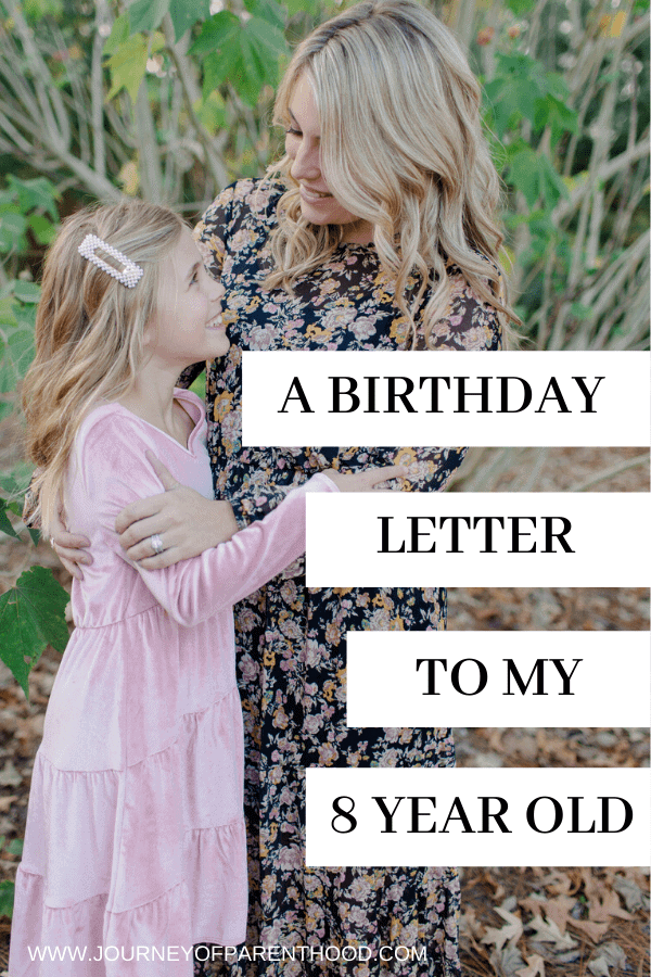 a birthday letter to my 8 year old