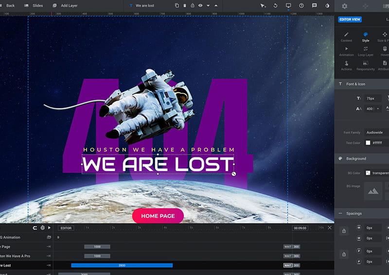 Slider Revolution visual editor.