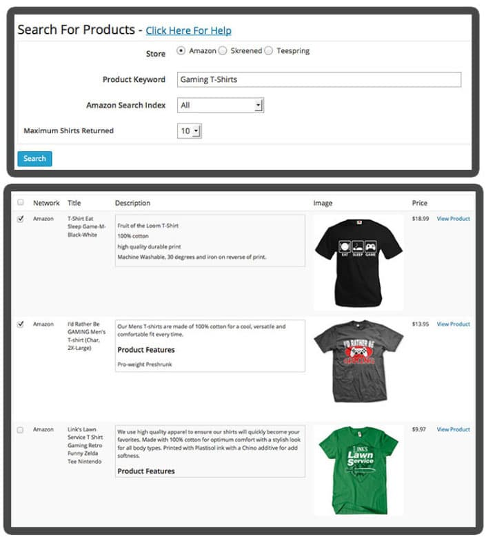 earn affiliate commision selling tshirts