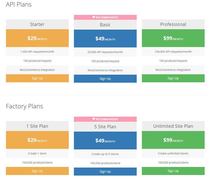 datafeedr pricing plan comparison