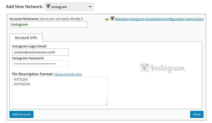 wordpress auto post to instagram