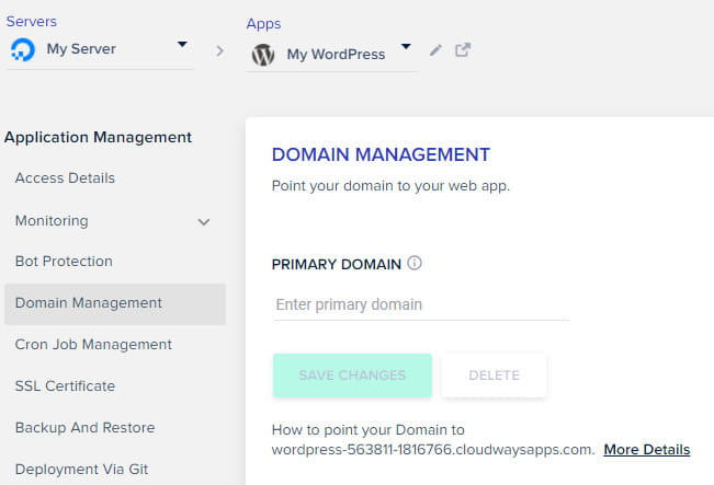 Cloudways domain management tab.